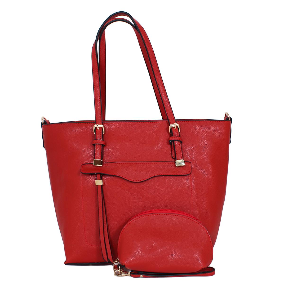 Сумка женская Flioraj, цвет: красный. 00051616101225В комплекте сумка и косметичка. Сумка закрывается на молнию, внутри одно отделение, снаружи один карман на молнии. Косметичка закрывается на молнию, внутри одно отделение.