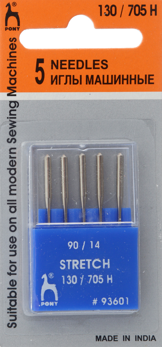 Иглы для швейных машин Pony, для стрейчевых тканей, №90, 5 шт93601Специальные иглы Pony, выполненные из высококачественной стали, подходят для бытовых швейных машин. В набор входят иглы, которые идеально подходят для работы с тканью стрейч.В комплекте пластиковый футляр для переноски и хранения.Размер: 90/14.