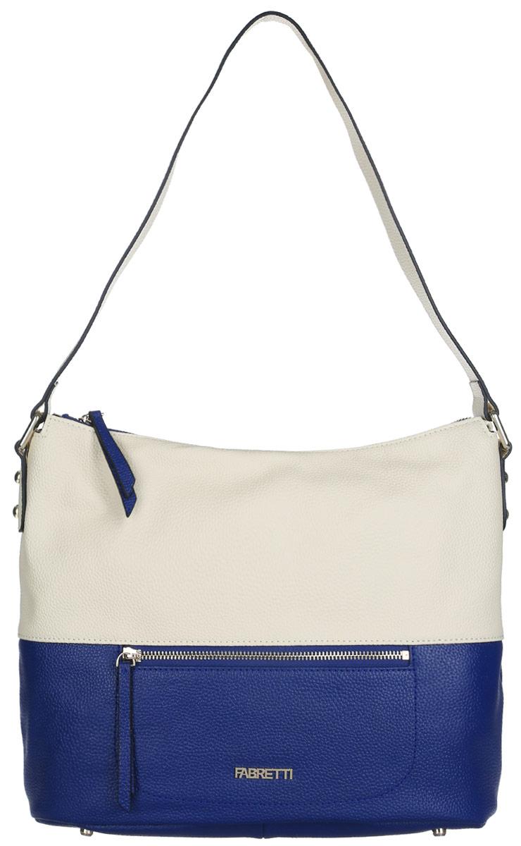 Сумка женская Fabretti, цвет: молочный, синий. N25358-2Стильная женская сумка Fabretti выполнена из натуральной кожи с фактурным тиснением.Изделие содержит одно вместительное отделение, которое закрывается на застежку-молнию. Внутри расположено два накладных кармашка для мелочей, карман-средник на застежке-молнии и два врезных кармана на молнии. Снаружи, на лицевой и на тыльной сторонах сумки расположен врезной карман на застежке-молнии. Сумка оснащена удобным плечевым ремнем. Дно сумки дополнено металлическими ножками.Оригинальный аксессуар позволит вам завершить образ и быть неотразимой.