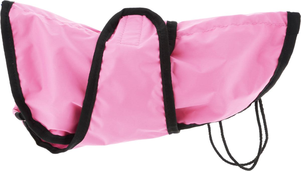Попона для собак ЗооМарк, цвет: светло-розовый, фуксия, черный кант. Размер: 1DM-150335-3Попона для собак ЗооМарк отлично подойдет для прогулок в прохладное время года. Попона изготовлена из плащевки, защищающая от ветра и осадков, а на подкладке используется флис, который отлично сохраняет тепло и обеспечивает воздухообмен. Попона оснащена веревочками-прорезями для ног и застегивается на липучку. Ворот оснащен резинкой, благодаря чему ее легко надевать и снимать.Благодаря такой попоне питомцу будет тепло и комфортно в любое время года.