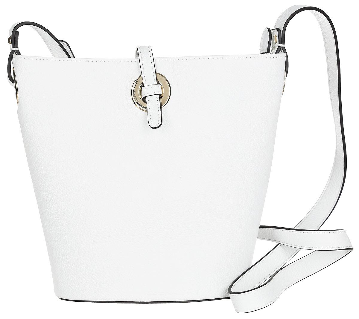 Сумка женская Palio, цвет: белый. 14379AR-065S76245Стильная сумка Palio, выполненная из натуральной кожи с зернистой фактурой, оформлена металлической фурнитурой.Изделие застегивается на застежку-молнию и дополнительно на хлястик. Внутри сумки расположены: накладной кармашек для мелочей и врезной карман на молнии. На задней стороне сумки расположен врезной карман на молнии. Изделие оснащено плечевым ремнем регулируемой длины. К сумке прилагается фирменный чехол для хранения.Элегантная сумка прекрасно дополнит ваш образ.
