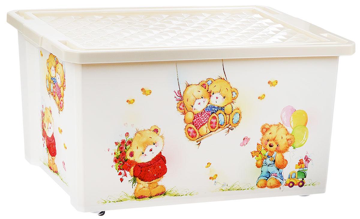 Little Angel Ящик для игрушек X-BOX Bears на колесах цвет белый 61 х 40,5 х 33 см