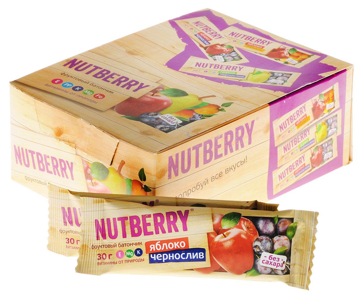 NutberryВитафрут батончикфруктовый с яблоком и черносливом, 30г (24 шт)4620000677062Фруктовый батончик NutberryВитафрут Яблоко/Чернослив - полезный и натуральный снек. Сочетание яблока и чернослива не просто придется вам по вкусу, но еще и зарядит вас полезными витаминами, которые содержаться в сухофруктах. Сладкий вкус чернослива тонко разбавляет кислинка яблока, что делает продукт сбалансированным по сладости.NutberryВитафрут – натурально, вкусно, с заботой о вас. Батончик Яблоко/Чернослив справится с голодом в два счета. Любой перекус станет и вкусным и полезным. С утренним кофе, с обеденным чаем, со свежевыжатым соком фруктовый батончик Nutberry станет незаменимым составляющим вашего рациона.Фруктовые батончики Nutberry изготавливаются только из натуральных спрессованных фруктов. Они содержат естественные фруктовые сахара! При производстве в продукт не добавляются фруктоза, сахар и другие сахаросодержащие продукты. Nutberry абсолютно безопасны, не содержат ароматизаторов и красителей.