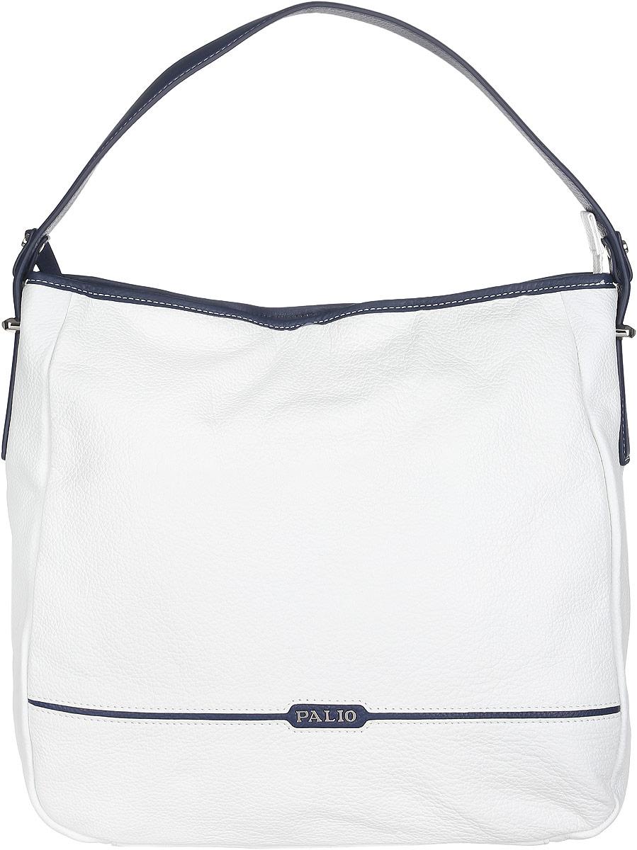 Сумка женская Palio, цвет: белый, темно-синий. 14265A1-W1-065/897S76245Стильная и практичная женская сумка Palio выполнена из натуральной кожи зернистой фактуры, оформлена логотипом бренда и металлической фурнитурой.Изделие состоит из одного вместительного отделения, закрывающегося на пластиковую застежку-молнию. Сумка не имеет жесткого каркаса и свою форму изменяет соответственно наполнению. Внутри расположены карман-средник на молнии, врезной карман на молнии и два накладных кармашка для мелочей и телефона. Снаружи, на задней стороне сумки, расположен врезной карман на молнии. Сумка оснащена одной удобной ручкой, высота которой позволяет носить ее на сгибе руки или на плече.Прилагается фирменный текстильный чехол для хранения изделия.Оригинальный аксессуар позволит вам завершить образ и быть неотразимой.