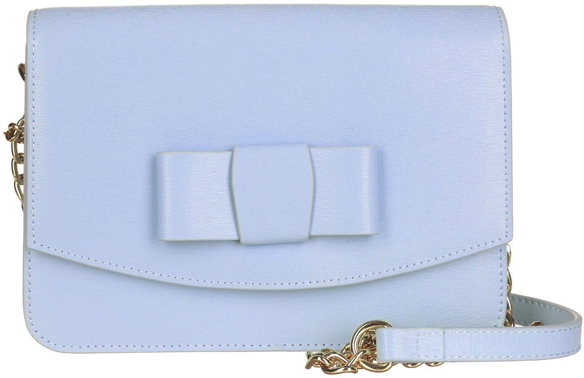 Сумка женская Galaday, цвет: голубой. GD4952QML597BUL/DСтильная сумка Galaday, выполненная из натуральной кожи с фактурным тиснением, оформлена кокетливым бантиком.Изделие застегивается клапаном на магнитную кнопку. Внутри расположены три накладных кармашка для мелочей, один из которых закрывается на кнопку, а другой на застежку-молнию. Изделие оснащено наплечным ремнем-цепочкой. К сумке прилагается фирменный чехол для хранения.Элегантная сумка прекрасно дополнит ваш образ.