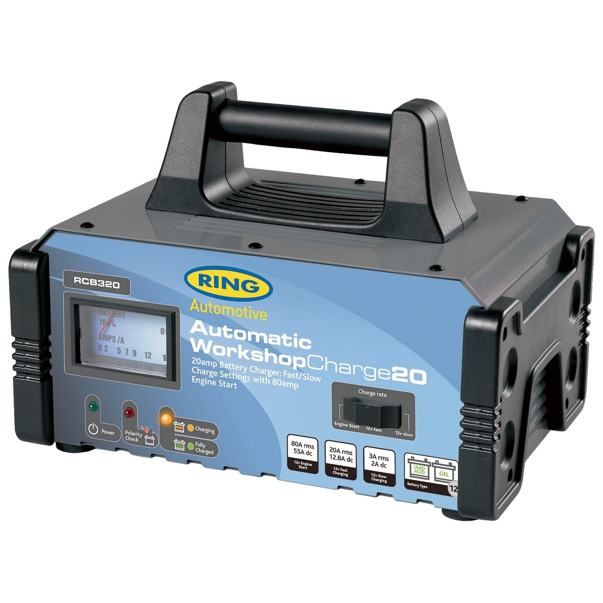 Пуско-зарядное устройство Ring Automotive WorkShopCharge20. RECB320R0003911Зарядное предпусковое устройство предназначено для зарядки свинцово-кислотных и гелевых аккумуляторных батарей, а также помощи в запуске двигателя автомобиля. Идеальное решение для небольших автосервисов и гаражей. Стрелочный индикатор - амперметр. Два режима зарядки - быстрый 20А и медленный 3А. Помощь в запуске двигателя - 80А. Автоматическая работа. Светодиодные индикаторы зарядки и заряженной батареи. Рекомендуется для АКБ емкостью 20 - 225Ач. Защита от обратной полярности. Удобная ручка для переноски. Металлический корпус с прорезиненными гранями.