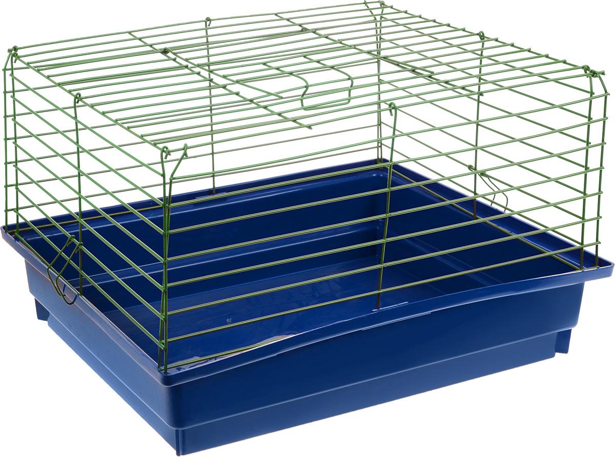 Клетка для кролика ЗооМарк, цвет: синий поддон, зеленая решетка, 60 х 40 х 35 см12171996Классическая клетка ЗооМарк со сплошным дном станет уединенным личным пространством и уютным домиком для кролика. Изделие выполнено из металла и пластика. Клетка надежно закрывается на защелки. Легко чистится. Для более удобной транспортировки клетку можно сложить.