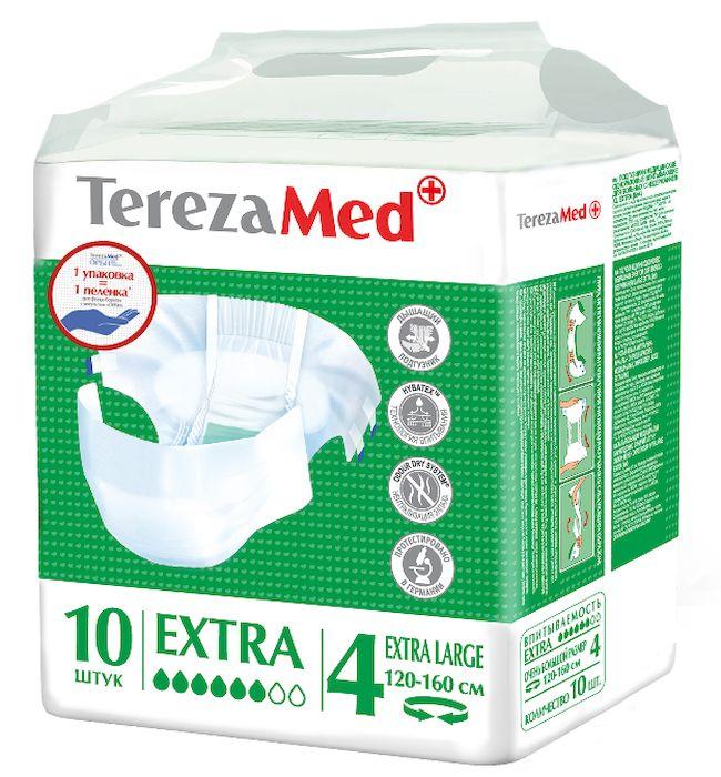 TerezaMed Подгузники для взрослых Extra Extra Large (4) 10 шт6267Подгузники TerezaMed Extra. Extra Large предназначены для больных недержанием средней тяжести. Подгузник выполнен из мягкого дышащего материала, который пропускает пары влаги. Это позволяет коже пациента под подгузником дышать, а так же снижает риск появления опрелостей. Ядро подгузника состоит из натурального материала - целлюлозы, в которую добавлен суперабсорбент, впитывающий жидкость в больших количествах и обладающий свойством подавлять развитие неприятного запаха. Зеленый распределительный слой эффективно впитывает жидкость и распределяет ее внутри подгузника, тем самым снижая риск появления протечек. Крепление подгузника обеспечивается надежными липучками типа замочек, что позволяет многократно их приклеивать и отклеивать. Боковые бортики вокруг ног сделаны из гидрофобного материала и надежно запирают жидкость внутри. Размер талии пациента: очень большой, 100-170см. Количество в упаковке: 10 штук. Впитываемость: 2500 мл ±5%.