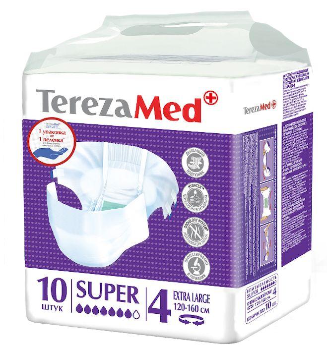 TerezaMed Подгузники для взрослых Super Extra Large №4 10 шт56052Подгузники TerezaMed Super Extra Large предназначены для больных с серьезной формой недержания. Подгузник выполнен из мягкого дышащего материала, который пропускает пары влаги. Это позволяет коже пациента под подгузником дышать, а так же снижает риск появления опрелостей. Ядро подгузника состоит из натурального материала - целлюлозы, в которую добавлен суперабсорбент, впитывающий жидкость в больших количествах и обладающий свойством подавлять развитие неприятного запаха. Зеленый распределительный слой эффективно впитывает жидкость и распределяет ее внутри подгузника, тем самым снижая риск появления протечек. Крепление подгузника обеспечивается надежными липучками типа замочек, что позволяет многократно их приклеивать и отклеивать. Боковые бортики вокруг ног сделаны из гидрофобного материала и надежно запирают жидкость внутри. Размер талии пациента: очень большой, 100-170 см. Количество в упаковке: 10 штук. Впитываемость: 3200 мл ±5%
