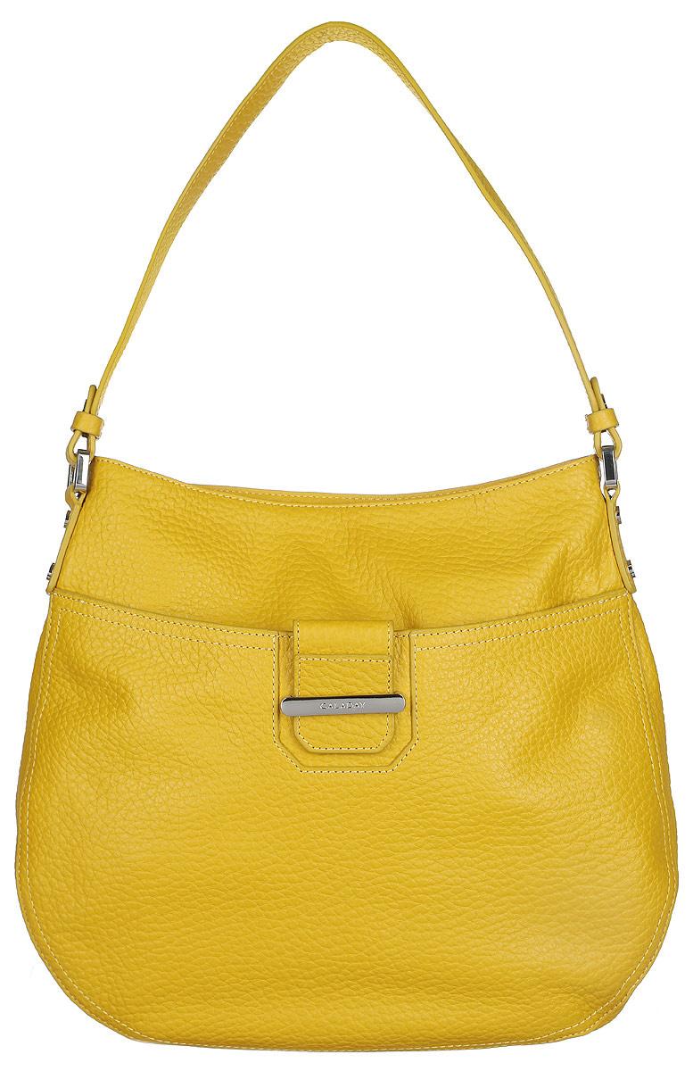 Сумка женская Galaday, цвет: желтый. GD4661KV996OPY/MСтильная сумка Galaday, выполненная из натуральной кожи с зернистой фактурой, оформлена металлической фурнитурой с символикой бренда.Изделие застегивается клапаном на застежку-молнию. Внутри расположены два накладных кармашка для мелочей, карман-средник на молнии и врезной карман на молнии. На задней стороне сумки расположен врезной карман на молнии. Лицевая сторона оснащена накладным карманом на магнитной кнопке. Изделие оснащено практичной лямкой. К сумке прилагается фирменный чехол для хранения.Элегантная сумка прекрасно дополнит ваш образ.