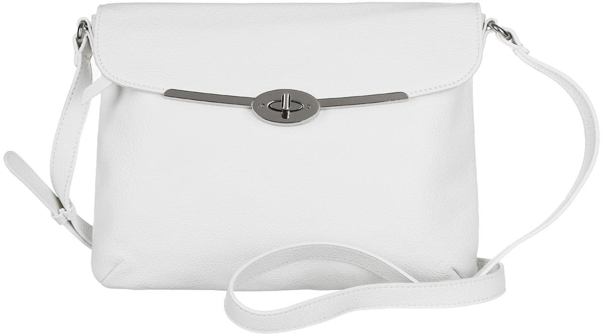 Сумка женская Palio, цвет: белый. 14137AR-W1-065/022S76245Стильная сумка Palio, выполненная из натуральной кожи с зернистой фактурой, оформлена символикой бренда и металлической фурнитурой.Изделие застегивается на застежку-молнию и дополнительно клапаном на замок-вертушку. Внутри расположены два накладных кармашка для мелочей и врезной карман на молнии. Снаружи, на задней стороне изделия, расположен врезной карман на молнии. Лицевая сторона также дополнена врезным карманом на молнии, который расположен под клапаном. Изделие оснащено практичным плечевым ремнем регулируемой длины. К сумке прилагается фирменный чехол для хранения.Элегантная сумка прекрасно дополнит ваш образ.