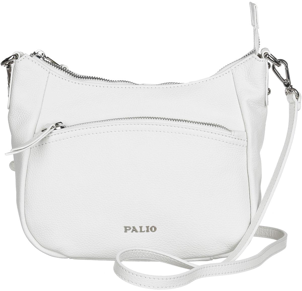 Сумка женская Palio, цвет: белый. 13738A-0653-47670-00504Стильная сумка Palio, выполненная из натуральной кожи с зернистой фактурой, оформлена символикой бренда и металлической фурнитурой.Изделие застегивается на застежку-молнию, внутри расположены два накладных кармашка для мелочей и врезной карман на молнии. Снаружи, на задней стороне изделия, расположен врезной карман на молнии. Лицевая сторона также дополнена врезным карманом на молнии. Изделие оснащено практичным плечевым ремнем регулируемой длины. К сумке прилагается фирменный чехол для хранения.Элегантная сумка прекрасно дополнит ваш образ.