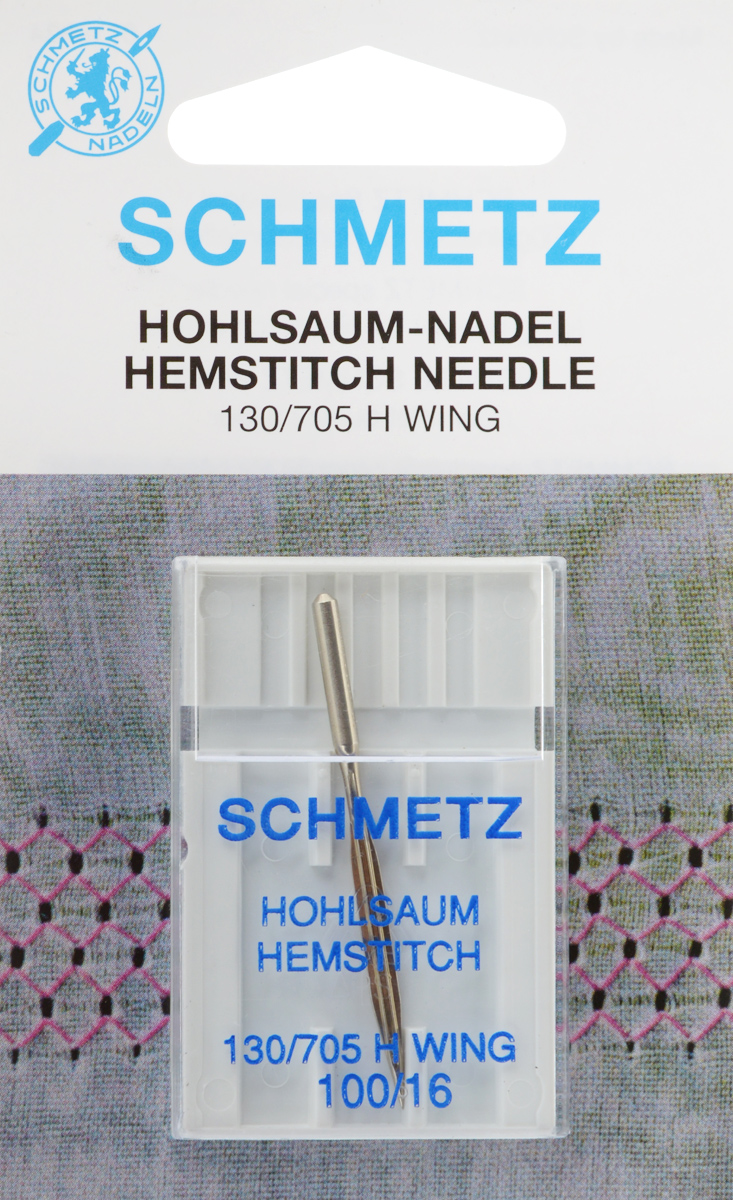 Игла для машинной вышивки Schmetz, для техники мережка, №100ДА-12-2Специальная игла Schmetz, выполненная из никеля, подходит для бытовых вышивальных машин всех марок. Игла предназначена для выполнения вышивки в технике мережка на велюре. Имеет цветовой код.В комплекте пластиковый футляр для переноски и хранения.Система иглы: 130/705 H WING.Номер иглы: 100/16.