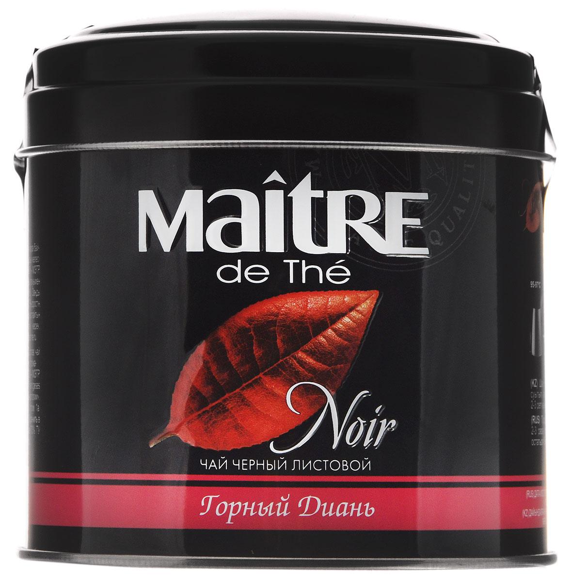 Maitre de The Горный диань черный листовой чай, 100 г (жестяная банка)101246Черный листовой чай из китайской провинции Юннань. Обладает насыщенным медовым вкусом и цветочным ароматом.
