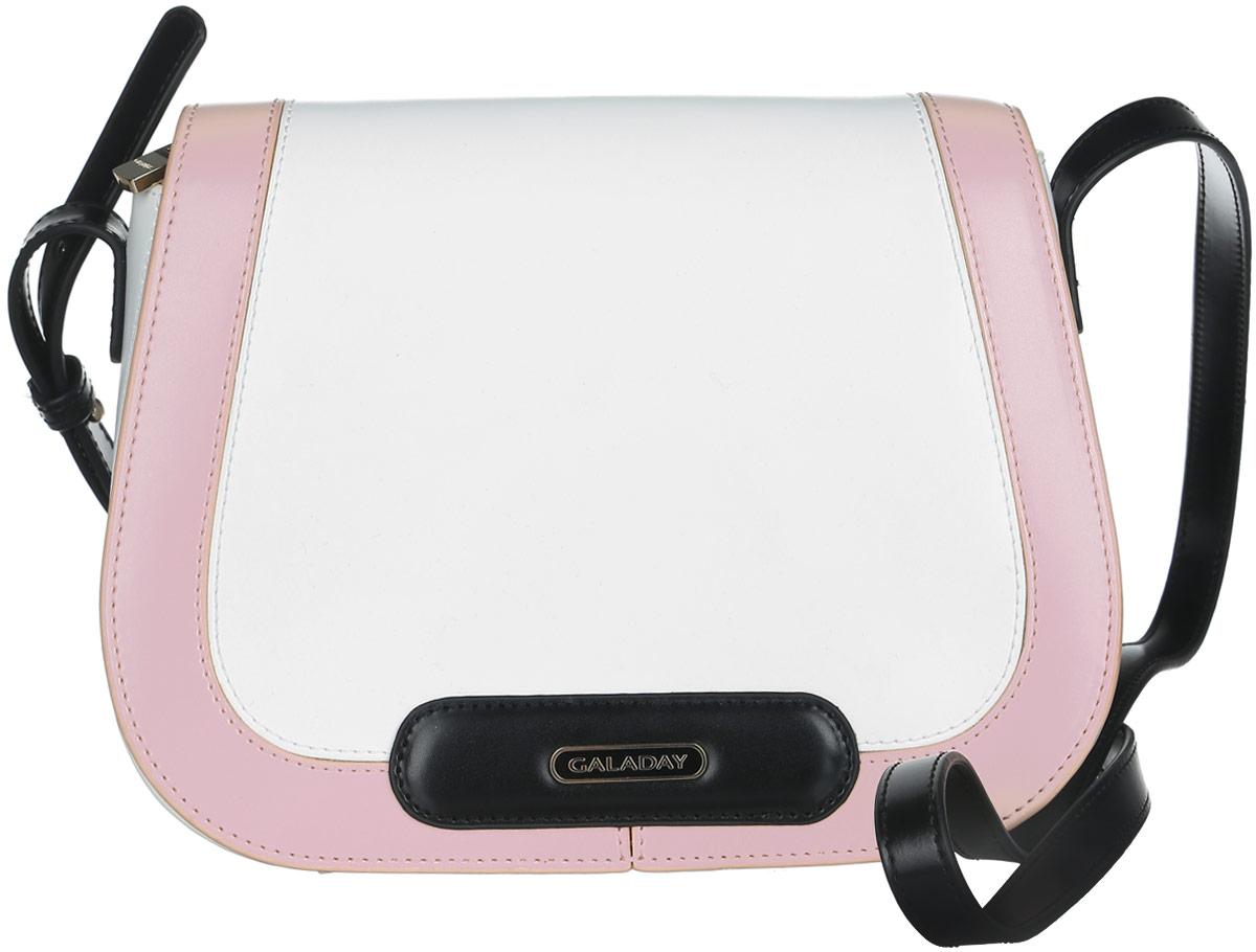 Сумка женская Galaday, цвет: белый, черный, розовый. GD4727L39845800Стильная сумка Galaday, выполненная из натуральной кожи с гладкой фактурой, оформлена металлической фурнитурой с символикой бренда.Изделие застегивается на застежку-молнию и дополнительно клапаном на магнитную кнопку. Внутри расположены два накладных кармашка для мелочей, врезной карман на молнии и карман-средник на молнии. Изделие оснащено наплечным ремнем регулируемой длины. К сумке прилагается фирменный чехол для хранения.Элегантная сумка прекрасно дополнит ваш образ.
