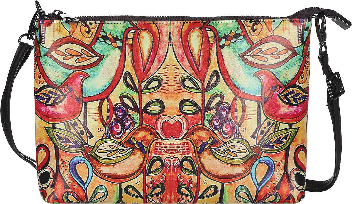 Клатч женский Модные истории, цвет: мультиколор. 3/0225/60710130-11Яркий и стильный клатч Модные истории выполнен из искусственной кожи. Изделие оформлено оригинальным красочным принтом.Клатч имеет одно отделение, которое закрывается на застежку-молнию. Отделение содержит карман-средник на молнии, накладной карман и врезной карман на молнии. Изделие оснащено съемным наплечным ремнем, регулируемым по длине.Клатч Модные истории прекрасно завершит ваш праздничный образ.