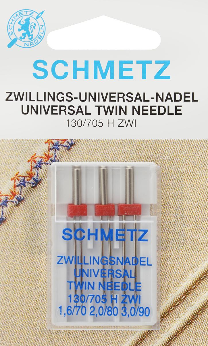 Иглы для бытовых швейных машин Schmetz, универсальные, двойные, №70, 80, 90, 3 штTD 0350Универсальные двойные иглы Schmetz, выполненные из никеля, подходят для бытовых швейных машин всех марок. Они предназначены для декоративной отделки и выполнения защипов на всех тканых материалах, а также для подшивания низа изделий из трикотажа.В комплекте пластиковый футляр для переноски и хранения.Система игл: 130/705 H ZWI.Номера игл: 70, 80, 90.Расстояние между иглами: 1,5 мм, 2 мм, 3 мм.