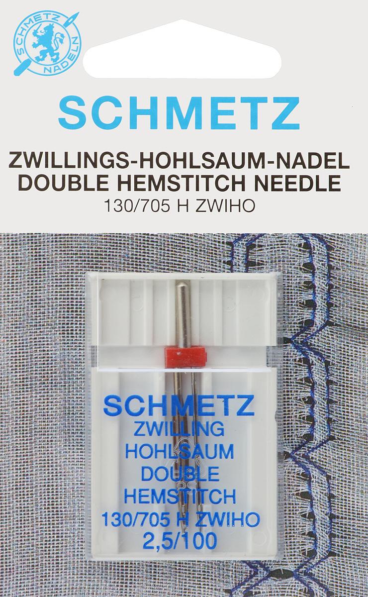 Игла для машинной вышивки Schmetz, для техники мережка, двойная, №100, 2,5 мм51005Специальная двойная игла Schmetz, выполненная из никеля, подходит для бытовых вышивальных машин всех марок. Игла предназначена для выполнения вышивки в технике мережка.В комплекте пластиковый футляр для переноски и хранения.Система иглы: 130/705 H ZWIHO.Номер иглы: 100. Расстояние между иглами: 2,5 мм.