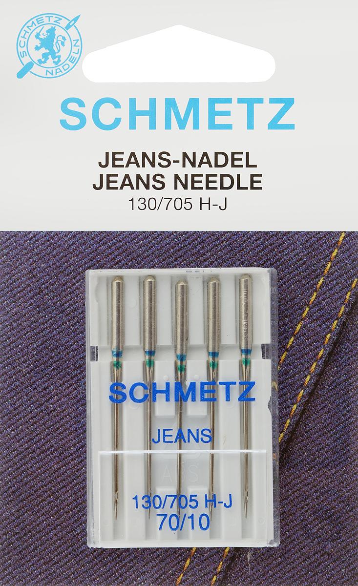 Иглы для бытовых швейных машин Schmetz, для джинсы, №70, 5 шт51026Специальные иглы Schmetz, выполненные из никеля, подходят для бытовых швейных машин всех марок. В набор входят иглы, которые идеально подходят для всех джинсовых материалов. Каждая игла имеет цветовой код.В комплекте пластиковый футляр для переноски и хранения.Система игл: 130/705 H-J.Номера игл: 70/10.