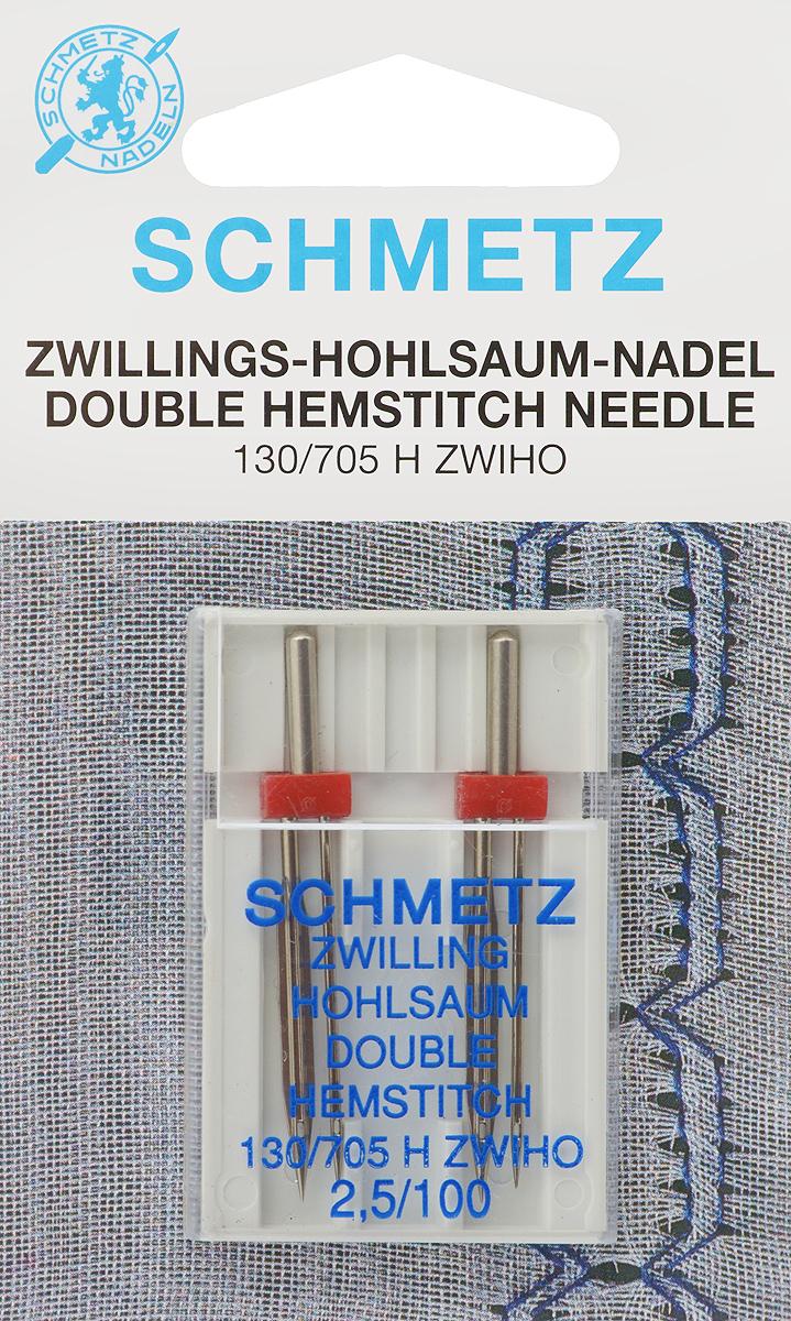 Иглы Schmetz для машинной вышивки в технике мережка, двойные, №100, 2,5 мм, 2 шт51005Специальные двойные иглы Schmetz, выполненные из никеля, подходят для бытовых вышивальных машин всех марок. Иглы предназначены для выполнения вышивки в технике мережка.В комплекте пластиковый футляр для переноски и хранения.Система иглы: 130/705 H ZWIHO.Номер иглы: 100. Расстояние между иглами: 2,5 мм.