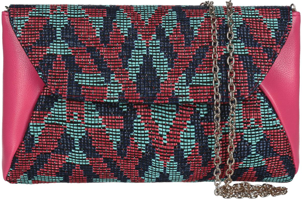 Клатч женский Eleganzza, цвет: коралловый, темно-синий, бирюзовый. ZZ-539323008Изысканный женский клатч Eleganzza выполнен из искусственной кожи и текстиля. Текстильная часть изделия выполнена плетением. Изделие имеет одно основное отделение, закрывающееся на клапан с магнитной кнопкой. Внутри расположен небольшой накладной открытый карман. Лицевая сторона дополнена открытым карманом под клапаном.Модель оснащена плечевым ремнем в виде цепочки.Роскошный клатч внесет элегантные нотки в ваш образ и подчеркнет ваше отменное чувство стиля.