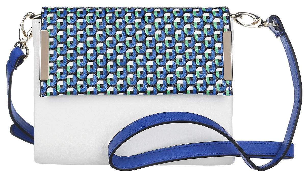 Клатч Labbra, цвет: белый, синий, зеленый. L-54383-47660-00504Стильный клатч Labbra, изготовленный из искусственной кожи, оформлен металлической фурнитурой. Клапан изделия дополнен ярким орнаментом.Изделие застегивается клапаном на магнитную кнопку и сдержит два отделения. Внутри сумки расположен врезной карман на молнии. На задней стороне сумки расположен врезной карман на молнии. Изделие оснащено съемным плечевым ремнем регулируемой длины.Элегантный клатч прекрасно дополнит ваш образ.