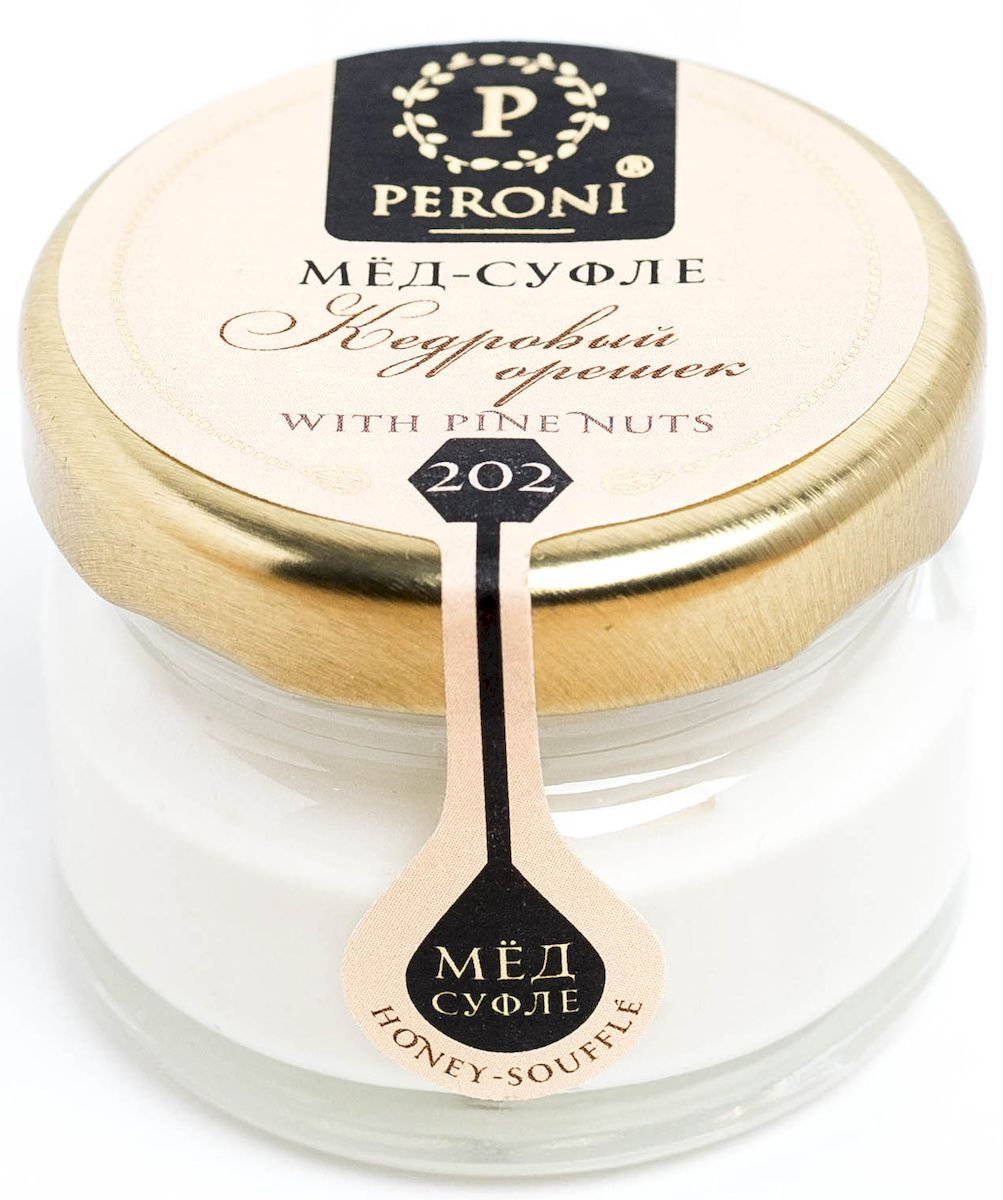Peroni Кедровый орешек мёд-суфле, 30 г0120710Мёд-суфле Peroni с кедровым орехом - это целый питательный комплекс с непревзойденным вкусом. Нежный и яркий вкус кедрового орешка подчеркивается тонким ароматом меда.Для получения меда-суфле используются специальные технологии. Мёд долго вымешивается при определенной скорости, после чего его выдерживают при температуре 12-14 градусов по Цельсию, тем самым закрепляя его нужную консистенцию. Все полезные свойства меда при этом сохраняются.Мёд с кедровым орехом — это отличный помощник при переходе на вегетарианское питание, поскольку обладает повышенным содержанием белка, не содержит холестерин и позволяет компенсировать «белковый голод». Укрепляет сосуды, нормализует состав крови. Повышает либидо и потенцию у мужчин и женщин. Благотворно влияет на бронхолёгочную систему.