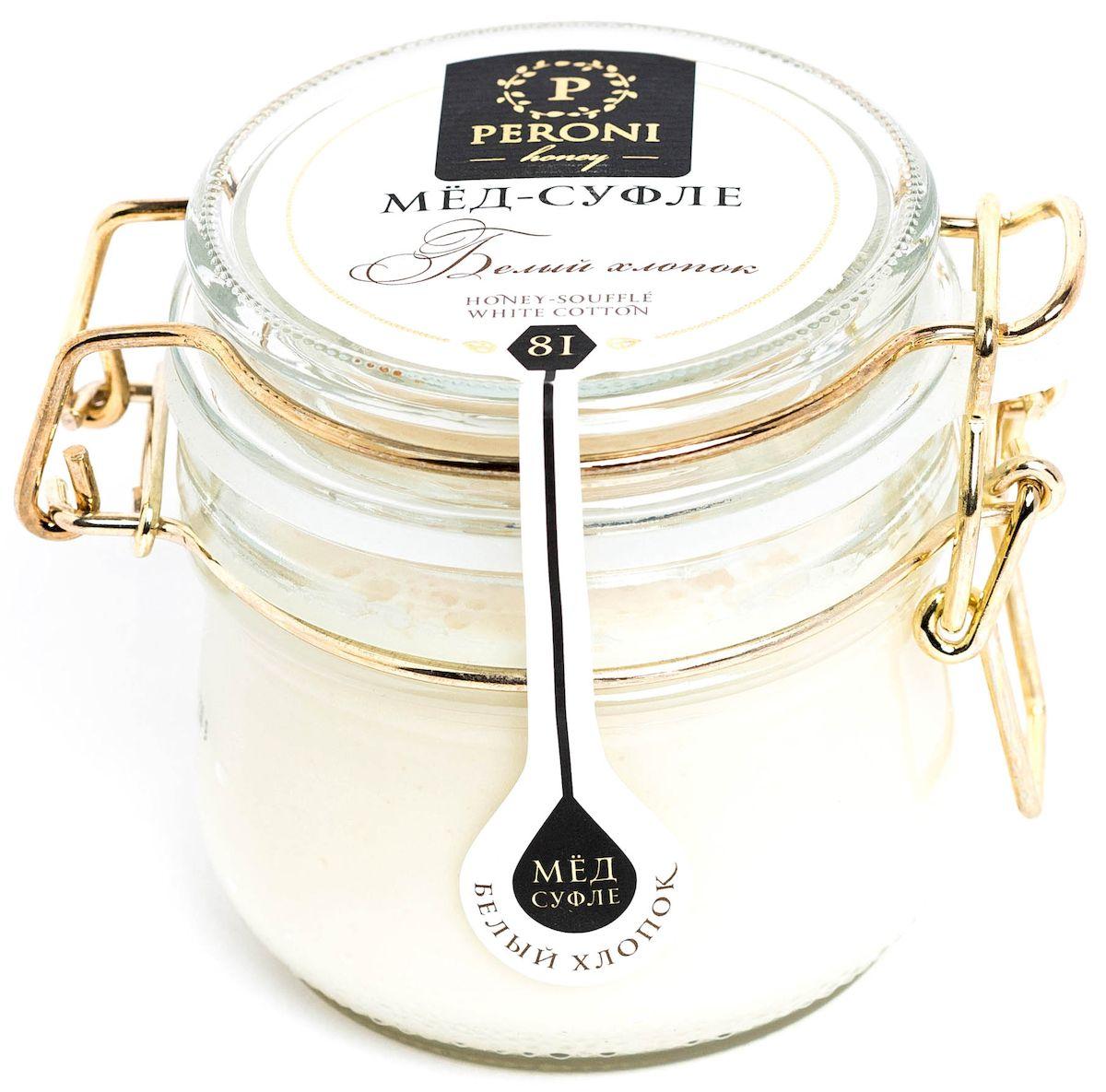 Peroni Белый хлопок мёд-суфле, 230 г0120710Мёд согревающего молочного оттенка с мягкой бархатистой текстурой. Аромат мёда тонкий, выразительный, комплексный. Преобладают ароматы летних цветов, согретой солнцем розы, сливочные оттенки. Ощущение легчайшего шелковистого мусса во рту сопровождается насыщенным сливочным вкусом с нежной пряной ноткой. Доминирует всепоглощающая сладость и тепло.Именно поэтому, если вам нездоровится зимой или в межсезонье, хлопковый мед будет прекрасным компаньоном! Он также является источником большого количества витаминов и питательных веществ, натуральным природным лекарством от кашля и болезней органов дыхания, укрепляет иммунитет. Употребление хлопкового мёда будет способствовать скорому выздоровлению и вернет вас к активной жизни.Для получения мёда-суфле используются специальные технологии. Мёд долго вымешивается при определенной скорости, после чего его выдерживают при температуре 12-14°С, тем самым закрепляя его нужную консистенцию. Все полезные свойства мёда при этом сохраняются.