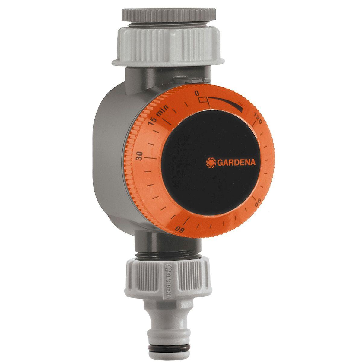 Таймер подачи воды Gardena106-026Таймер подачи воды Gardena крепится к водопроводному крану и используется для автоматического выключения используемой вами системы полива, например, дождевателей или Системы Микрокапельного полива. По окончании программирования таймер сразу включает поливочное устройство и выключает его в заданное время. Предусмотрена возможность установки режима постоянного расхода воды. Для работы таймера батарейки не требуются. Продолжительность полива 5-120 мин;Электропитание - механическое; Рабочее давление - 0.5 - 12 бар; Соединительная резьба для водопроводного крана 26,5 мм (G 3/4), 33,3 мм (G 1).