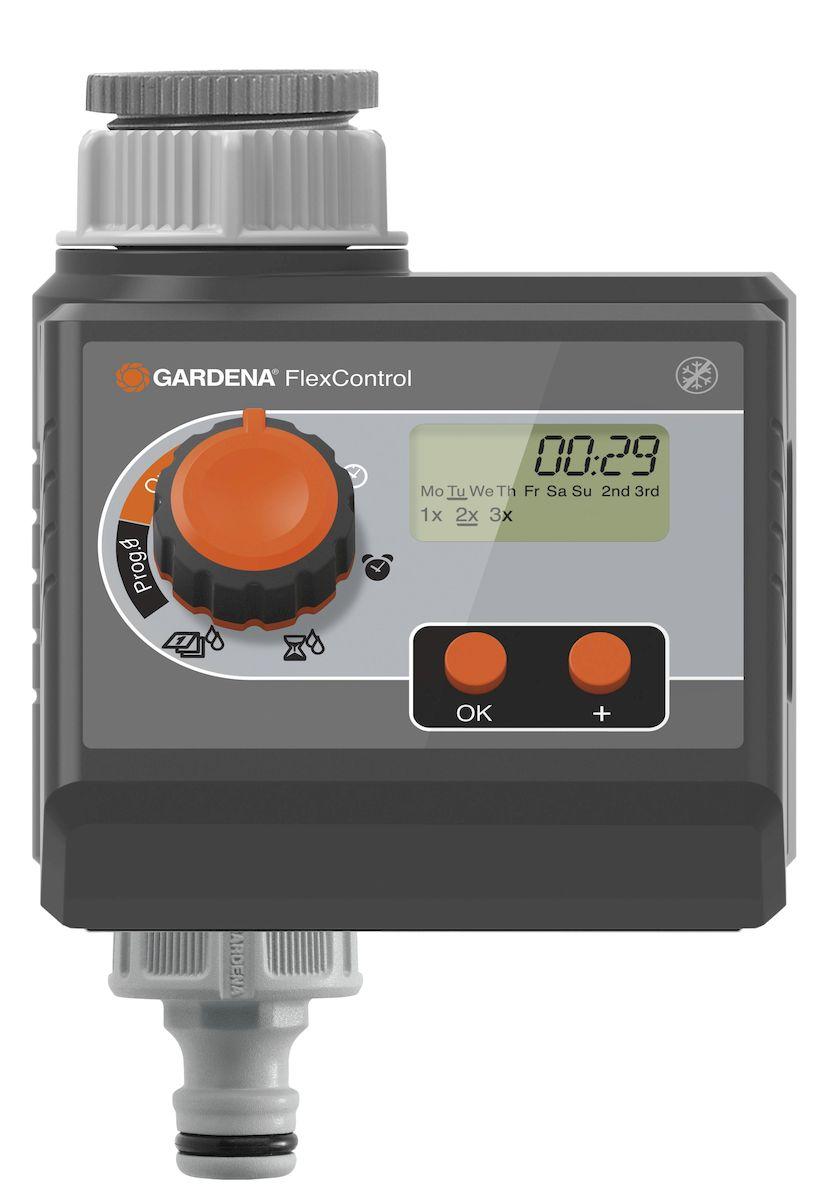 Таймер подачи воды Gardena FlexControl01883-29.000.00Таймер подачи воды Gardena FlexControl процесс полива проще. Таймер подачи воды подключается напрямую к водопроводному крану и надежно управляет поливом в соответствии с выбранным временем и продолжительностью. Это означает, что вам никогда не нужно волноваться о поливе, будь то это будни или отпуск. Удобная съемная панель делает регулировку настроек проще. Наглядный дисплей: LCD дисплей четко отображает выбранные настройки, например, день недели, частота полива. Программирование является интуитивно понятным. Выберите время начала полива, продолжительность и частоту с помощью поворотного регулятора и двух кнопок. Вы также можете выбрать конкретные дни недели, когда должен осуществляться полив. Когда вы скорректируете настройки, таймер будет контролировать полив точно в соответствии с вашими пожеланиями. Для работы таймера требуется одна щелочная батарейка типа крона 9 В (не входит в комплект). Предусмотрена индикация уровня заряда батареи. Вы всегда будете знать, когда необходимо ее заменить, и это обеспечивает стабильность работы таймера. В качестве дополнения, вы можете подключить датчик дождя или влажности почвы при помощи специального разветвителя. Это будет большим преимуществом: если идет дождь, или почва достаточно влажная, запрограммированный полив отменяется, тем самым экономит драгоценную воду. Количество поливов в день - 3; Длительность полива - 1мин - 1ч 59мин; Частота полива - в любые дни недели, либо каждый 2-й, 3-й или 7-й день;Соединительная резьба для водопроводного крана - 26.5 мм (G 3/4) и 33.3 и (G1); Индикатор разряда - есть;Рабочие давление - 0,5-12 бар.
