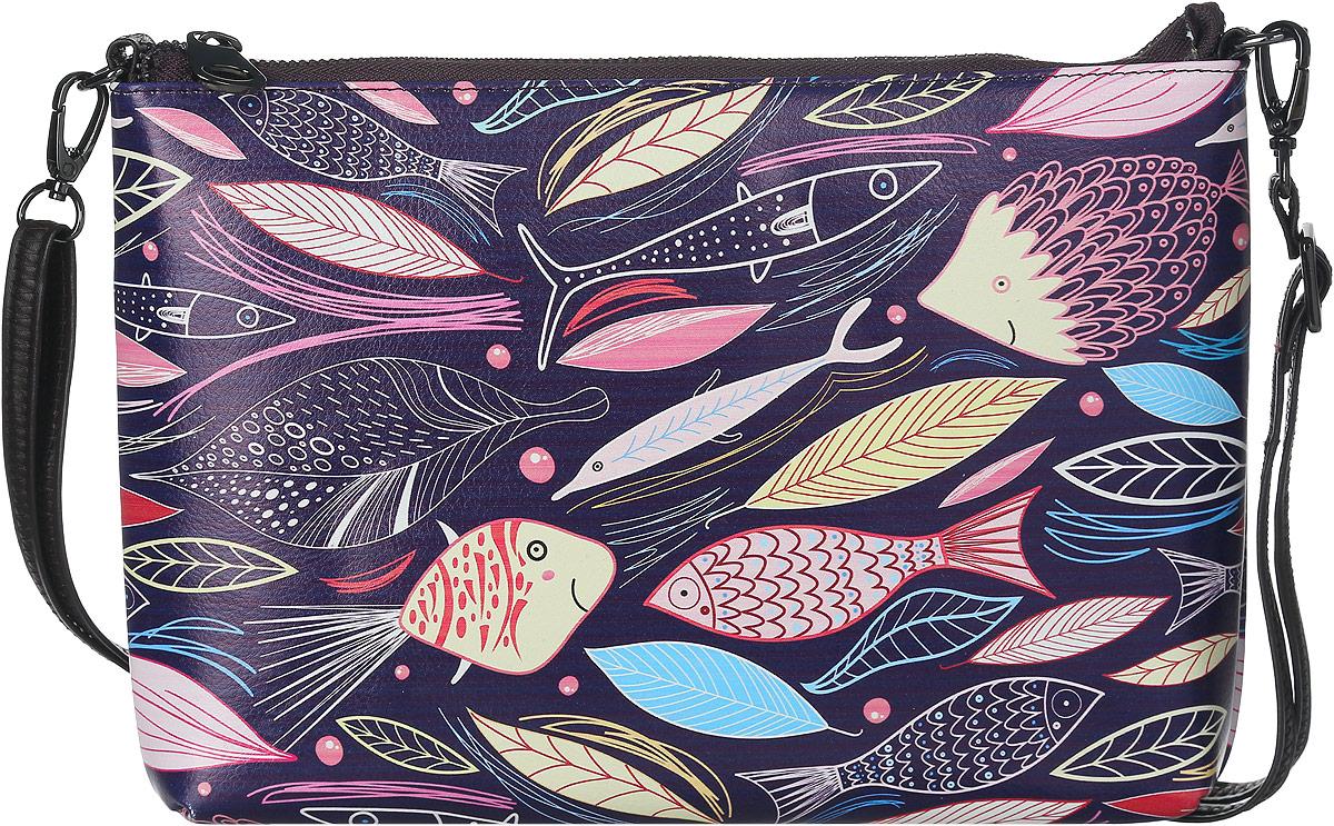 Клатч женский Модные истории, цвет: фиолетовый, мультиколор. 3/0225/602S76245Яркий и стильный клатч Модные истории выполнен из искусственной кожи. Изделие оформлено красочным принтом с изображением причудливых рыбок и лепестков.Клатч имеет одно отделение, которое закрывается на застежку-молнию. Отделение содержит карман-средник на молнии, накладной карман и врезной карман на молнии. Изделие оснащено съемным наплечным ремнем, регулируемым по длине.Клатч Модные истории прекрасно завершит ваш праздничный образ.