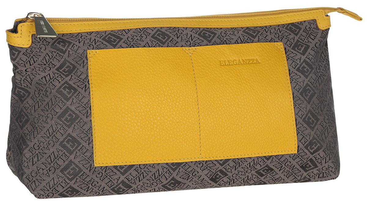 Косметичка женская Eleganzza, цвет: коричневый, желтый. Z-14790B16-11416Стильная женская косметичка Eleganzza, выполнена из текстиля и натуральной кожи, оформлена символикой бренда и тиснением в виде логотипа бренда.Изделие содержит одно вместительное отделение, которое закрывается на застежку-молнию. На лицевой стороне косметички расположены два накладных кармашка.Практичный аксессуар вместит в себя все необходимое, позволит вам завершить образ и быть неотразимой.
