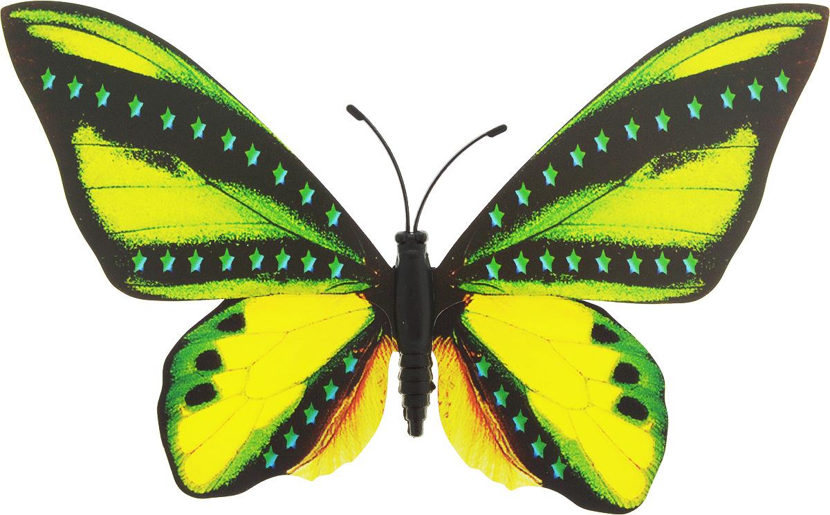 Фигура садовая Village people Тропическая бабочка, с магнитом, цвет: черный, желтый, зеленый (17), 12 х 8 смZ-0307Ветряная фигурка Village People Тропическая бабочка, изготовленная из ПВХ и магнита, это не только красивое украшение, но и замечательный способ отпугнуть птиц с грядок. Изделие выполнено в виде бабочки и оснащено магнитом, с помощью которого вы сможете поместить его в любом удобном для вас месте. Яркий дизайн фигурки оживит ландшафт сада.