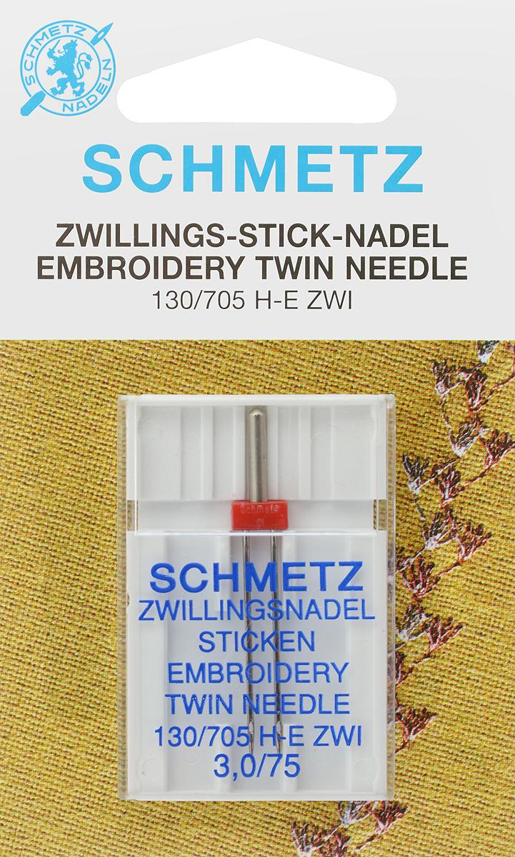 Игла для машинной вышивки Schmetz, двойная, №75, 3 мм162055Специальная игла Schmetz, выполненная из никеля, подходит для бытовых вышивальных машин всех марок. Игла предназначена для выполнения машинной вышивки.В комплекте пластиковый футляр для переноски и хранения.Система иглы: 130/705 H-E ZWI.Номер иглы: 75. Расстояние между иглами: 3 мм.