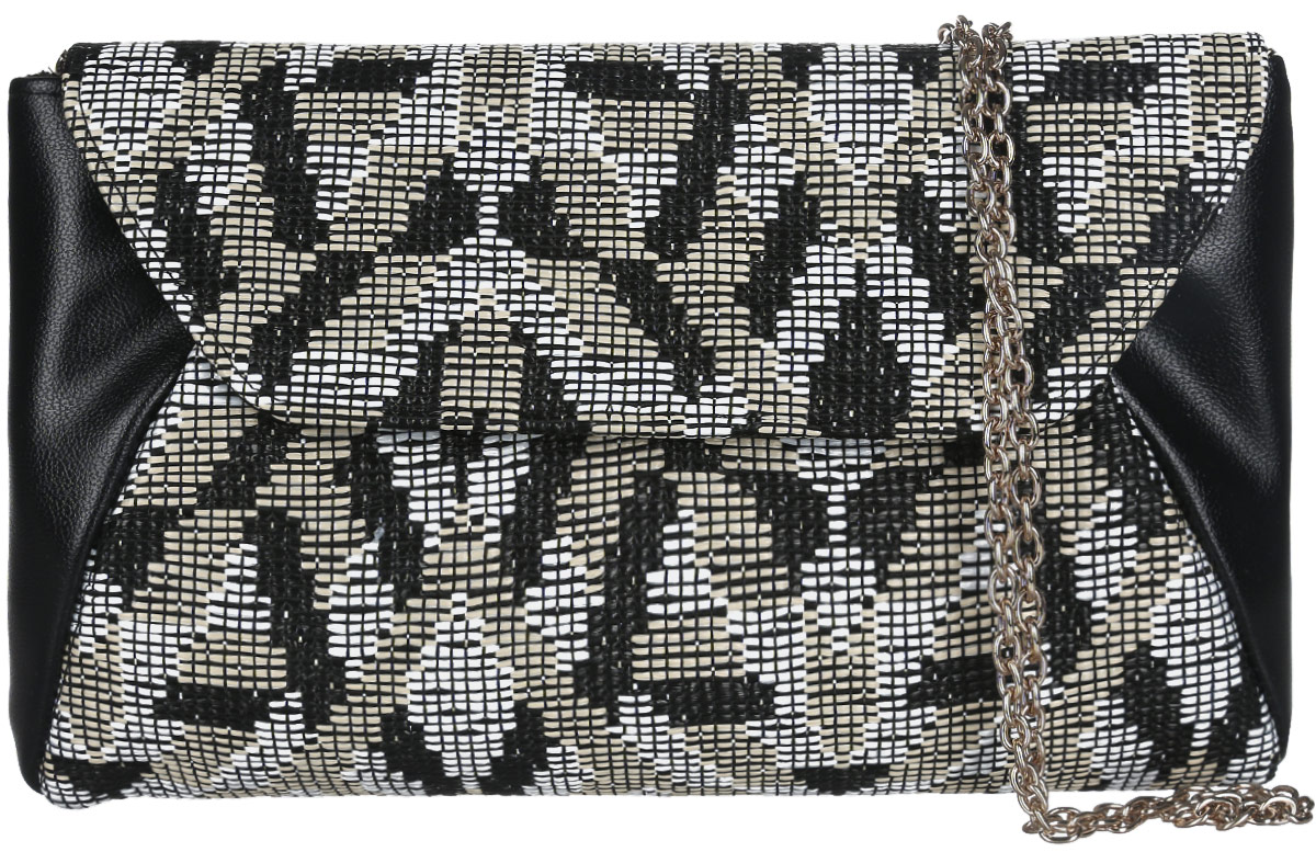 Клатч женский Eleganzza, цвет: черный, белый, бежевый. ZZ-539310931-1Изысканный женский клатч Eleganzza выполнен из искусственной кожи и текстиля. Текстильная часть изделия выполнена плетением. Изделие имеет одно основное отделение, закрывающееся на клапан с магнитной кнопкой. Внутри расположен небольшой накладной открытый карман. Лицевая сторона дополнена открытым карманом.Модель оснащена плечевым ремнем в виде цепочки.Роскошный клатч внесет элегантные нотки в ваш образ и подчеркнет ваше отменное чувство стиля.