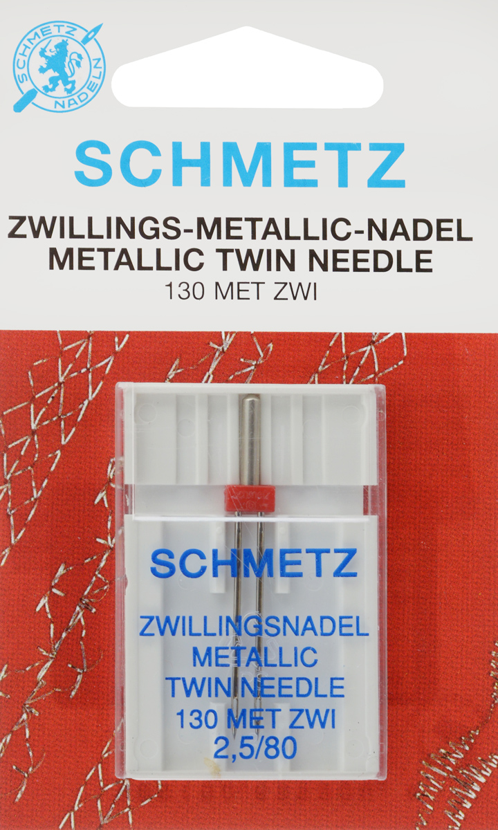 Игла для машинной вышивки Schmetz, для металлизированных нитей, двойная, №80, 2,5 мм22:30.FB2.VDSСпециальная игла Schmetz, выполненная из никеля, подходит для бытовых вышивальных машин всех марок. Игла предназначена для вышивания металлизированными нитями.В комплекте пластиковый футляр для переноски и хранения.Система иглы: 130 MET ZWI.Номер иглы: 80. Расстояние между иглами: 2,5 мм.