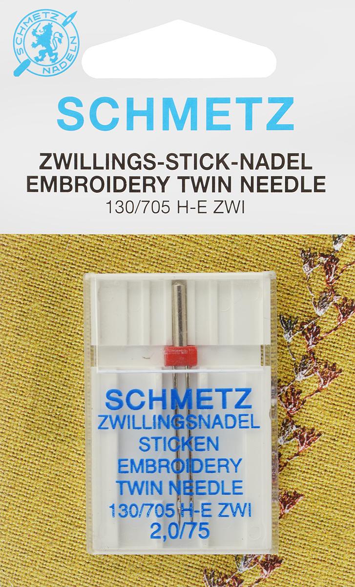 Игла для машинной вышивки Schmetz, двойная, №75, 2 ммTD 0350Специальная игла Schmetz, выполненная из никеля, подходит для бытовых вышивальных машин всех марок. Игла предназначена для выполнения машинной вышивки.В комплекте пластиковый футляр для переноски и хранения.Система иглы: 130/705 H-E ZWI.Номер иглы: 75. Расстояние между иглами: 2 мм.