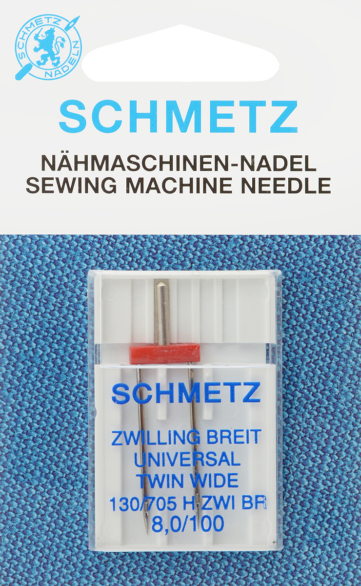Игла для бытовых швейных машин Schmetz, универсальная, двойная, №100, 8 ммTD 0350Универсальная двойная игла Schmetz, выполненная из никеля, подходит для бытовых швейных машин всех марок. Она предназначена для декоративной отделки и выполнения защипов на всех тканых материалах, а также для подшивания низа изделий из трикотажа.В комплекте пластиковый футляр для переноски и хранения.Система иглы: 130/705 H ZWI BR.Номер иглы: 100.Расстояние между иглами: 8,0 мм.