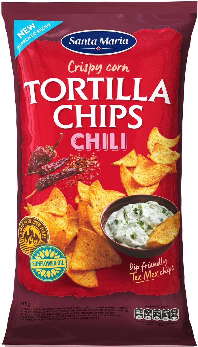 Santa Maria Чипсы кукурузные с чили, 475 г5900617015945Кукурузные чипсы с добовлением вкусовых добавок, могут использоваться как самостоятельное блюдо.