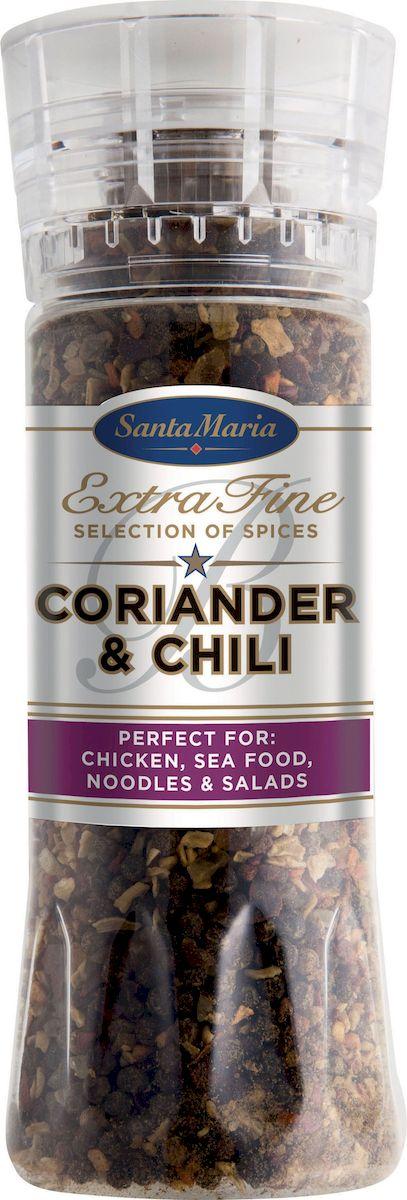 Santa Maria Кориандр и чили, 280 г4149Прекрасно подходит для тушеных блюд из фарша, курицы, свинины, говядины, баранины, рыбы, овощных фаршей, салатов, соусов, а также для блюд кавказской и узбекской кухни.
