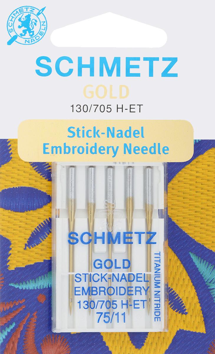 Игла для машинной вышивки Schmetz Gold, №75, 5 штKT-508-3 бело-фиолетовыйСпециальная игла Schmetz Gold, выполненная из нитрида титана, подходит для бытовых вышивальных машин всех марок. Игла предназначена для выполнения машинной вышивки.В комплекте пластиковый футляр для переноски и хранения.Система иглы: 130/705 H-ET.Номер иглы: 75/11.