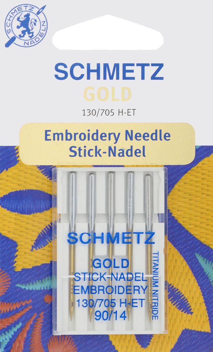 Игла для машинной вышивки Schmetz Gold, №90, 5 шт162356Специальная игла Schmetz Gold, выполненная из нитрида титана, подходит для бытовых вышивальных машин всех марок. Игла предназначена для выполнения машинной вышивки.В комплекте пластиковый футляр для переноски и хранения.Система иглы: 130/705 H-ET.Номер иглы: 90/14.
