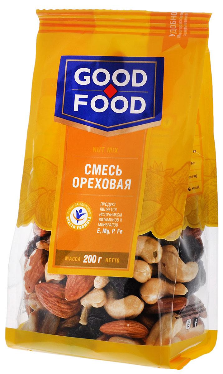 Good Food смесьореховая,200г0120710Смесь Ореховая - это вкусный и полезный снек. Смесь включает в себя бразильский орех, изюм golden и black jumbo, кешью, миндаль и фундук.
