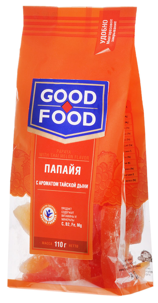 Good Food папайясароматомтайской дыни,110гбзе062Good Food папайясароматомтайской дыни - это необычайно вкусное и не менее полезное лакомство. Ароматные кусочки сушеной папайи могут стать прекрасной альтернативой питательного и одновременно легкого перекуса.