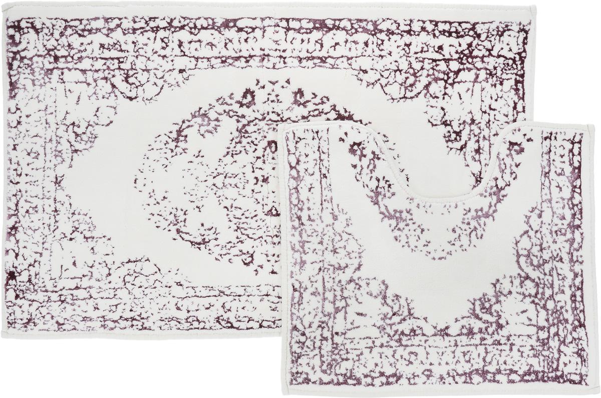 Набор ковриков для ванной Arya Venus, цвет: лиловый, молочный, 2 шт531-105Необыкновенные коврики для ванной Arya Venus обладают эффектным дизайном, мягким и легким в уходе ворсом, нежным естественным оттенком, а также насыщенным цветом.Набор состоит из двух ковриков, выполненных из хлопка и вискозы. Верхняя часть из ворса 4 мм. Коврики украшены рисунком, который придаст еще большей элегантности дизайну ванной комнаты. Особенности изделий:Края ковриков обработаны. Коврики не требовательны в уходе, если они чрезмерно не пачкаются и не загрязняются. В зависимости от интенсивности использования достаточно раз в месяц или в три месяца привести их в порядок. Коврики легко сворачиваются или складываются и помещаются в емкость для стирки. Данные коврики легко выдержат машинную стирку на бережном цикле при 30°С. Хорошо впитывают влагу, быстро сохнут.Коврик - это необходимый предмет, без которого невозможен комфорт и уют в ванной комнате. Размер ковриков: 60 х 100 см, 50 х 60 см.