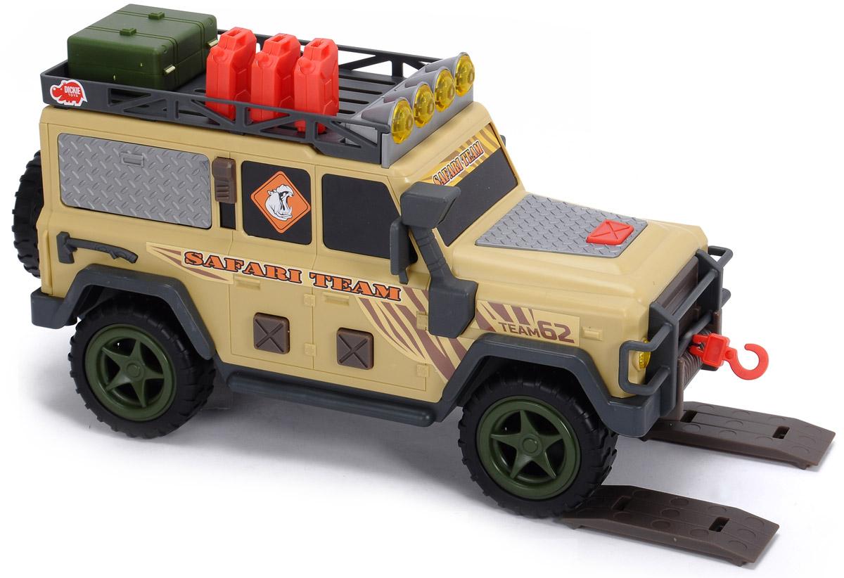 """Мощный многофункциональный внедорожник Dickie Toys """"Safari Team"""" с открывающейся задней дверью, съемным запасным колесом и лебедкой непременно понравится вашему ребенку. Нажатие кнопок на боковых дверях внедорожника активирует звуковые и световые эффекты: светятся верхние прожекторы, слышен рокот мотора, звуки природы. Открытие боковой панели-окна с помощью рычажка также сопровождается звуковыми эффектами. В наборе есть аксессуары, которые можно расположить на крыше внедорожника: большой ящик, три канистры и 2 настила под колеса. Лебедка свободно разматывается. Чтобы свернуть лебедку обратно, достаточно нажать на кнопку на капоте машины. С этой игрушкой ваш малыш будет часами занят игрой. Порадуйте его таким замечательным подарком! Для работы игрушки необходимы 2 батарейки напряжением 1,5V типа АА (товар комплектуется демонстрационными)."""