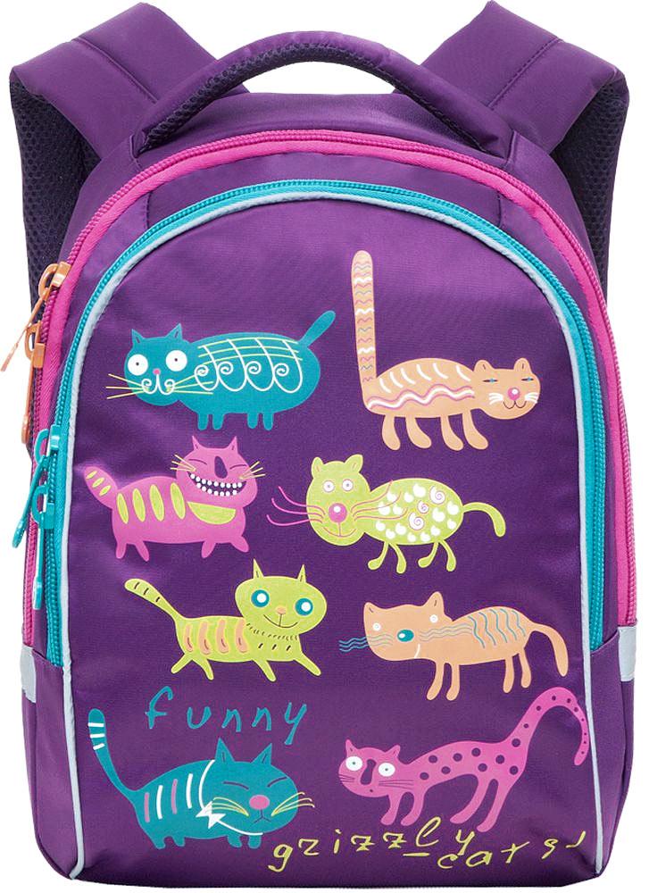 Grizzly Рюкзак детский Коты цвет фиолетовый72523WDДетский рюкзак Коты - это красивый и удобный рюкзак, который подойдет всем, кто хочет разнообразить свои школьные будни. Рюкзак выполнен из плотного материала и оформлен оригинальным принтом с цветными забавными котиками. Рюкзак имеет два основных отделения, закрывающиеся на молнии. Одно из отделений содержит открытый накладной карман и три кармашка для канцелярских принадлежностей.Рюкзак оснащен удобной ручкой для переноски и светоотражающими элементами.Широкие регулируемые лямки и сетчатые мягкие вставки на спинке рюкзака предохранят мышцы спины ребенка от перенапряжения при длительном ношении. Многофункциональный детский рюкзак станет незаменимым спутником вашего ребенка.