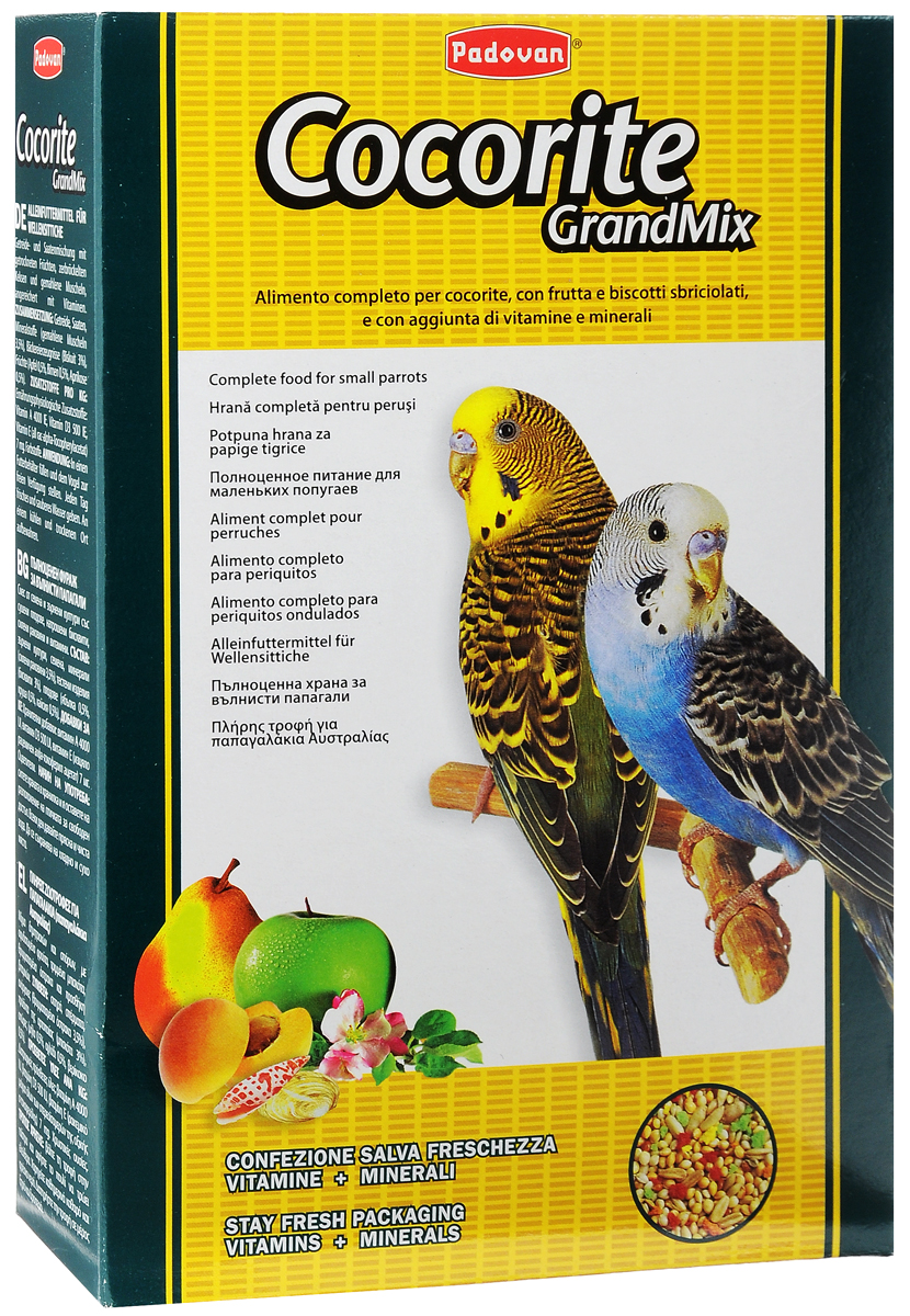 Корм Padovan Сocorite Grandmix, для волнистых попугаев, 1 кг16821Padovan Сocorite Grandmix - это комплексный корм для волнистых попугаев, смесь зерен и семян с сушеными фруктами, раскрошенным печеньем и измельченными ракушками, с витаминными добавками.Состав: злаки, семена, минеральные вещества (измельченные ракушки 3,5%), хлебопродукты (печенье 3%), фрукты (яблоко 0,5%, груша 0,5%, абрикос 0,5%).Добавки на 1 кг продукта: витамин А 4000 МЕ, витамин D3 500 МЕ, витамин Е (альфа-токоферол) 7 мг. Пищевые красители.