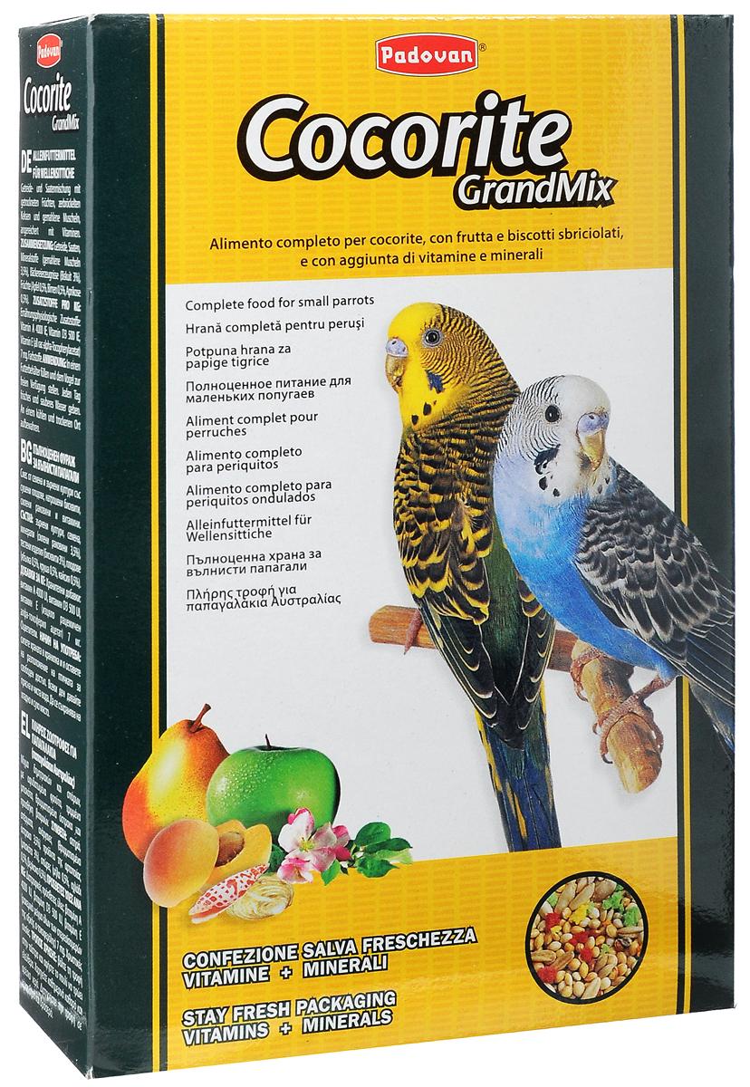 Корм Padovan Сocorite Grandmix, для волнистых попугаев, 400 г0120710Padovan Сocorite Grandmix - это комплексный корм для волнистых попугаев, смесь зерен и семян с сушеными фруктами, раскрошенным печеньем и измельченными ракушками, с витаминными добавками.Состав: злаки, семена, минеральные вещества (измельченные ракушки 3,5%), хлебопродукты (печенье 3%), фрукты (яблоко 0,5%, груша 0,5%, абрикос 0,5%).Добавки на 1 кг продукта: витамин А 4000 МЕ, витамин D3 500 МЕ, витамин Е (альфа-токоферол) 7 мг. Пищевые красители.
