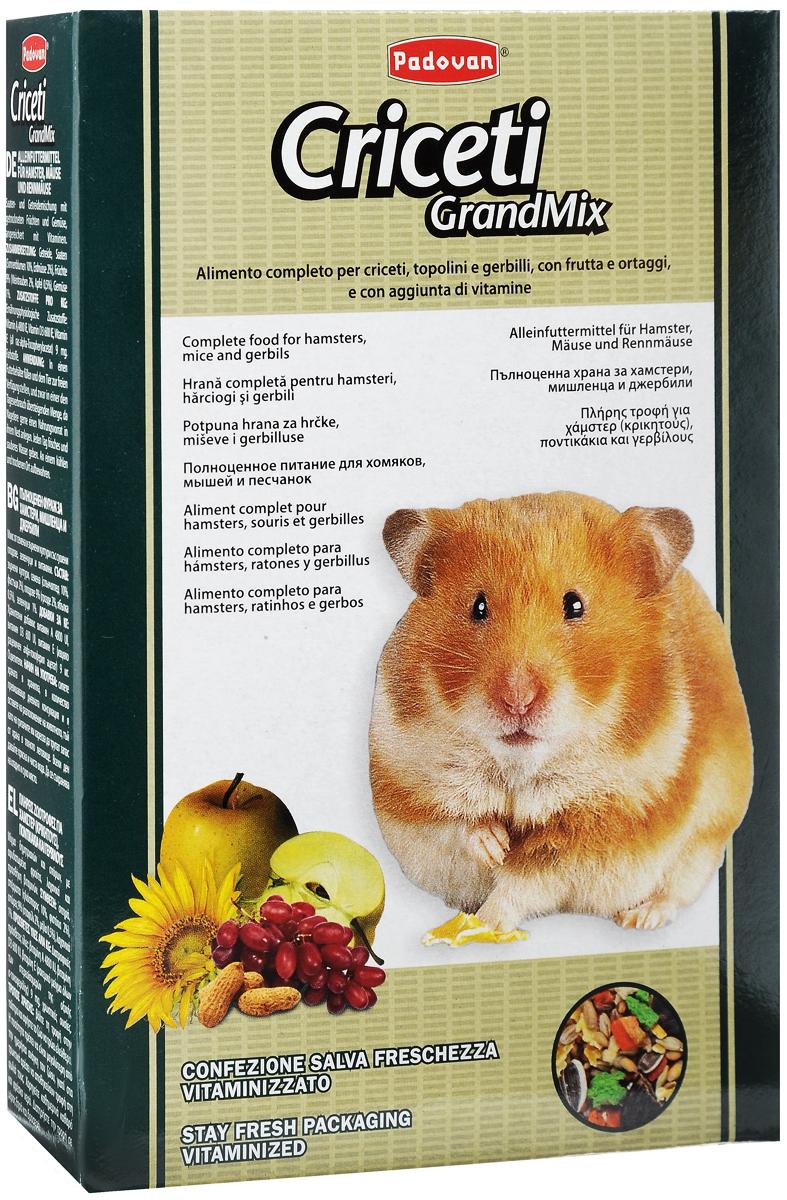 Корм Padovan Criceti Grandmix, для хомяков и мышей, 400 г3220Комплексный, высококачественный основной корм Padovan Criceti Grandmix подходит для мышей, хомяков и песчанок. Он обогащен фруктами и овощами, витаминами и минералами.Состав: злаки, семена (подсолнух 10%, арахис 2%), фрукты 9% (виноград 2%, яблоко 0,5%), овощи 1%.Добавки на 1 кг продукта: витамин А 4800 МЕ, витамин D3 600 МЕ, витамин Е (альфа-токоферол) 9 мг. Пищевые красители.Товар сертифицирован.